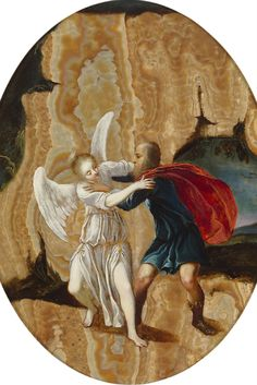 The Fight Between Jacobus and the Angel by Jacques Stella ~ This luminous and dramatic 17th-century oil painting is executed on oriental alabaster. Attributed to the French Baroque painter Jacques Stella, it captures Jacob wrestling the angel. The biblical scene boasts stunning detail and incorporates the marble-like bands of the stone. The work is a remarkable example of this illustrious Old Master's gem-like oeuvre ~ M.S. Rau Antiques