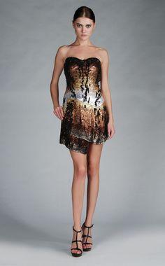 Roberto Cavalli Animal Print Strapless Dress Sequin Formal Shorts Black