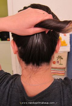 Nerdy Girl Makeup » Blog Archive » Quick Hair Trick: Updo without any hair ties, clips, & pins!