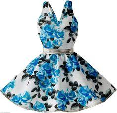 NEWIP! 2015 BARBIE FASHIONISTA WHITE BLUE BLACK FLORAL ROSE PRINT KNIT SUN DRESS