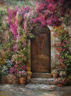 J.R. Mooney ~c.c.c~Floral Tapestry Across An Old Stone Wall~  Galleries of Fine Art