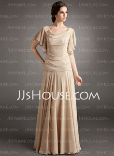 Mother of the Bride Dresses - $162.99 - A-Line/Princess Cowl Neck Floor-Length Chiffon Mother of the Bride Dress With Ruffle Beading (008006185) http://jjshouse.com/A-Line-Princess-Cowl-Neck-Floor-Length-Chiffon-Mother-Of-The-Bride-Dress-With-Ruffle-Beading-008006185-g6185
