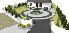 Creative Landscape, Landscape Design, Modern Driveway, Modern Courtyard, Modern Entrance, Garden Paving, Driveway Landscaping, Yard Design, Small Gardens