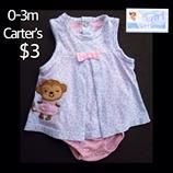 Carter's 3m Infant Girls Cute Monkey Onesie Dress $3.  Only one available in size shown. We offer FREE shipping with purchases over $30.