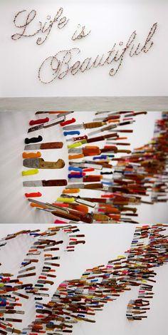 Farhad Moshiri : Life is beautiful. An artwork made of knifes.