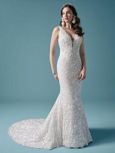 Callan| Square back sheath wedding dress with plunging v-neckline. #wedding #weddingdress #weddingdresses #bride #bridal #bridalgown #weddingplanning #weddingfashion #maggiesottero