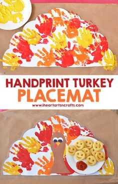 Handprint Turkey Placemat - Such a cute keepsake idea to have at the table for Thanksgiving dinner! #JoyintheKitchen #ad