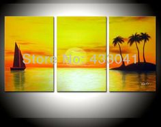 Handmade 3 Piece Set Yellow Sky Sea Palm Coconut Island Sailboat Oil Painting Canvas Landscape Picture Wall Art Home Decoration