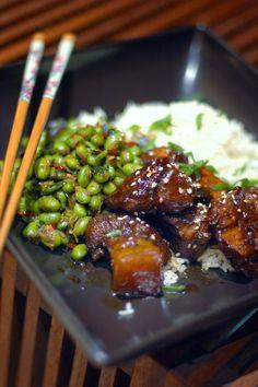 Black vinegar pork belly with ginger & chilli soya beans