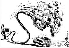 The petrol attendants' strike hits out at motorists. Cartoons, Editorial, Illustration, Animated Cartoons, Cartoon, Illustrations, Comic Book, Comics And Cartoons, Comics