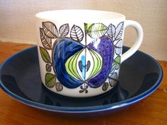 A set of four Swedish Rörstrand porcelain cups and saucers....I love this design called 'Eden'.