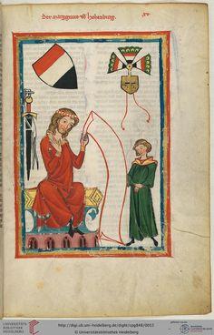Der Stammsitz der Markgrafen von Hohenburg liegt südlich von Amberg in der Oberpfalz. Der dargestellte Sänger ist entweder Markgraf Diepold V. von Vohburg (1205-1225 bezeugt), der seit seiner Heirat auch den Titel eines Markgrafen von Hohenburg führte, oder sein Sohn Bertold IV. von Hohenburg (um 1230-1256).