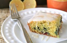 lemon and blueberry coffee cake with lemon drizzle