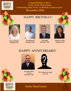 Congratulations to these Netter Real Estate Team Professionals celebrating December birthday and work celebrations!