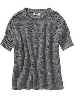Girls Wave Pattern Boxy Sweaters