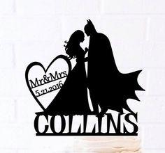 Braut und Bräutigam, Batman-Kuchen-Deckel, Kundenspezifische Kuchen-Deckel, Hochzeitstorte Topper, Silhouette-Braut und Bräutigam