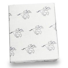 Navy Racehorse Print Twin Sheet Set