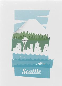 Seattle poster by Brad Woodard. one of my fav towns the world over