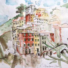Positano. Italy. Watercolor. Pen. Graphic. Sketch design.