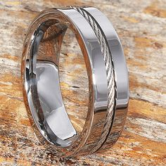71c33c73d6 Custom Cable Inlay Tungsten Wedding Band 7mm Width Mens Promise Rings For  Guys, Rings For