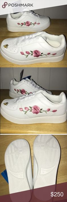 💘LOWEST PRICE💘Embroidery sneakers Unique one of a kind sneaker. These are plush and comfortable. Fresh 90s nostalgic champion platform creeper sneakers. These are not some flimsy converse type crap. White on white brand new with tags. ***i do not discuss pricing in comments. Check out my other listings! Feel free to ask questions! Sizing info in photos. Thank you. Vans Shoes