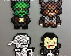 Classic Horror Monsters Perler Bead Magnet Characters - Frankenstein's Monster, The Wolfman, The Mummy, Dracula - hama beads pixel art cute