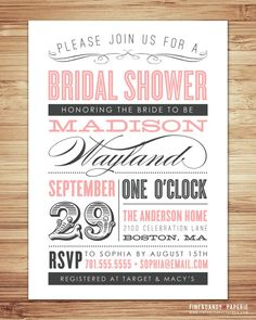 PERFECT bridal shower invites!