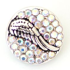 1 PC 18MM Angel Wing Rhinestone Silver Snap Candy by 95Boutique