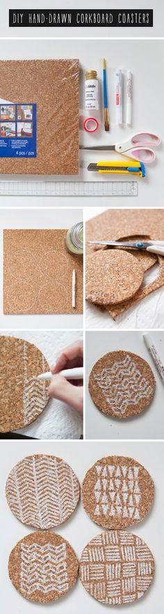 DIY Hand-Drawn Corkboard Coasters