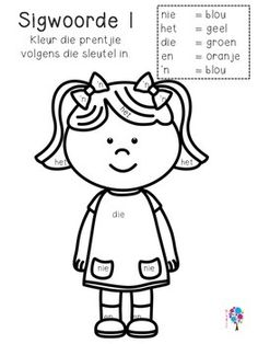 Afrikaanse Sigwoorde Graad 1 Kleur In! Worksheets For Grade 3, Preschool Worksheets, Alphabet Worksheets, Preschool Writing, Preschool Themes, Learning Support, Kids Learning, Afrikaans Language, Teachers Aide