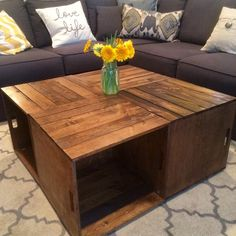 rolling rectangle wood crate coffee table | ideas interior