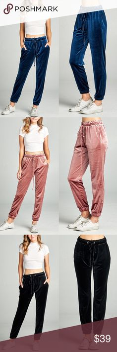 SISSY joggers - BLUE uber soft velvet joggers.  available in d. mauve, black and blue.  NO TRADE, PRICE FIRM Bellanblue Pants Track Pants & Joggers