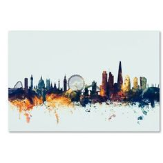 Mercury Row London England Skyline Blue Graphic Art on Wrapped Canvas Size: