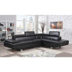 Acme Furniture Connor Sectional Sofa in Black Pu