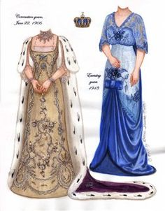 QUEEN MAUDE OF NORWAY  Princess Maude was the youngest daughter of Edward VII. She and husband Carl became King and Queen of Norway in 1906. This paper dolls features highlights from her vast surviving wardrobe