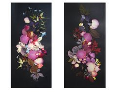 Set of 2 botanical artworks Pressed flowers by FloralCollage #craft #gift #botanicals