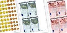 Euro Money Cut Outs - euros, money cut outs, pretend money, fake money, euro mon. Autism Teaching, Teaching Aids, Primary Teaching, Play Money, Money Games, Math Resources, Math Activities, Ks1 Maths, Numeracy
