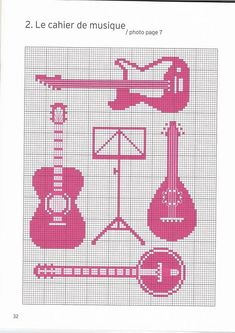Guitar/mandolin/banjo cross stitch chart