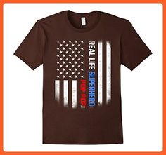 Mens Real Life Superhero Pop Pop shirt Large Brown - Superheroes shirts (*Partner-Link)