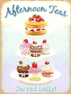 Vintage Afternoon Tea Served Daily A5 Metal Sign