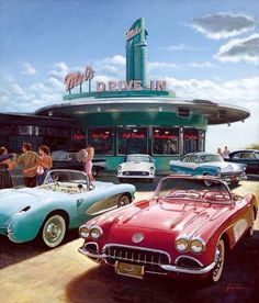 A drive-in restaurant was a new and casual way to eat fast and hang out with friends. This development came with the rise in popularity of the car. These drive-in restaurants helped shape our American culture of food. Retro Cars, Vintage Cars, Retro Vintage, Vintage Style, Pompe A Essence, Urbane Kunst, Aesthetic Vintage, 1950s Aesthetic, Vintage Vibes