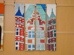 "The Dayton Landmarks Project was a series of ""slice"" quilts where some members of the Miami Valley Art Quilt Network took a section of a photograph of a Dayton land mark and interpreted in cloth."