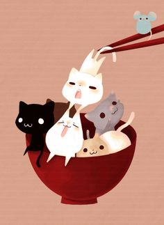 Cat being eaten by chopsticks by Unknown.  [Thanks to Chennie Meh for the title translation.] Still don't know who created this cute little picture though. This seems to have made the rounds through image sharing sites, but the original creator strangely remains a mystery.