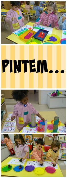 Els nens i nenes de P3 experimenten en diferents estris per pintar. Educació Infantil P3.