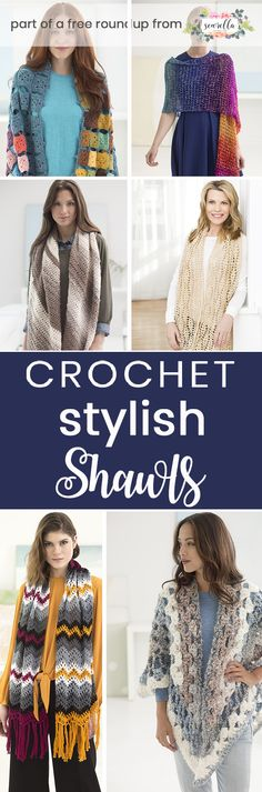 Crochet these easy and stylish shawls from my free pattern roundup! Lots of beginner friendly and pretty wraps and scarf style shawls free patterns