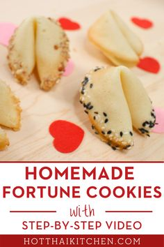 """Homemade fortune cookies are the perfect edible gifts, whether for Christmas or Valentine's Day. Put sweet messages inside these delicious cookies, or hide hints to the """"real"""" gift! #diygift #ediblegift Baking Recipes, Cookie Recipes, Dessert Recipes, Asian Desserts, Healthy Desserts, Healthy Recipes, Delicious Cookies, Delicious Food, Silicone Baking Mat"""