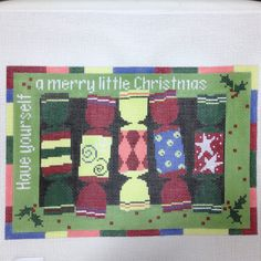 Handpainted+Needlepoint+canvas+5+Christmas+Crackers+by+Pippin+Merry+Little+#PippinCo