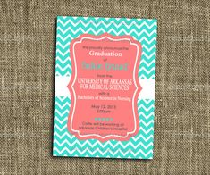 PRINTABLE INVITATIONS Turquoise and Coral Chevron Party Celebration - Birthday Party - Graduation - Memorable Moments Studio