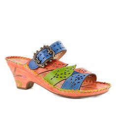 Look at this #zulilyfind! Orange & Blue Bali Leather Sandal #zulilyfinds