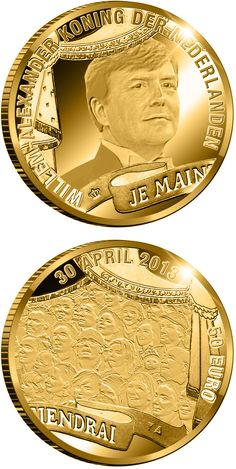 50 euro: King William-Alexander.Country:Netherlands Mintage year:2013 Issue date:24.04.2013 Face value:50 euro Alloy:Gold Quality:Proof Mintage:1,000 pc proof